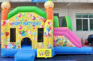 Happy party time side slide bouncy castle hire Perth cheap bouncy castles Swan Valley Castle Hire Ellenbrook bouncy castles