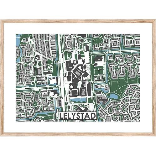 Lelystad Centrum Stadskaart Poster MijnHONCK
