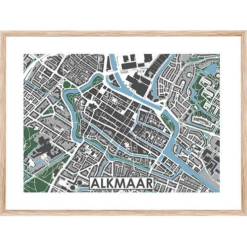 Alkmaar Centrum Stadskaart Poster MijnHONCK