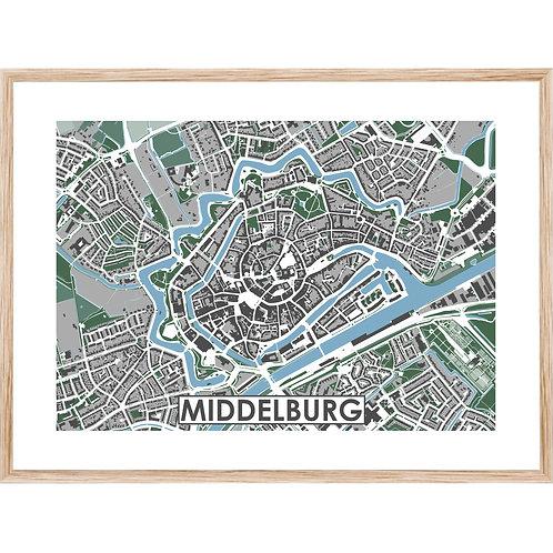 Middelburg Centrum Stadskaart Poster MijnHONCK