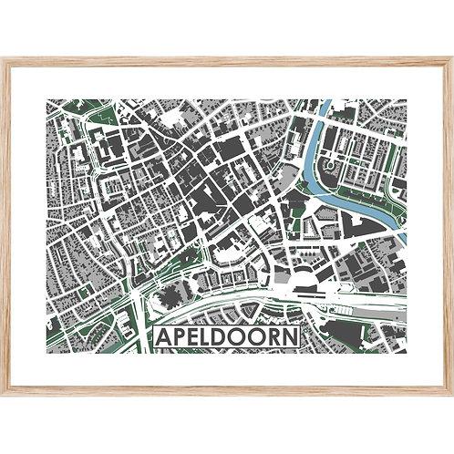Apeldoorn Centrum Stadskaart Poster MijnHONCK