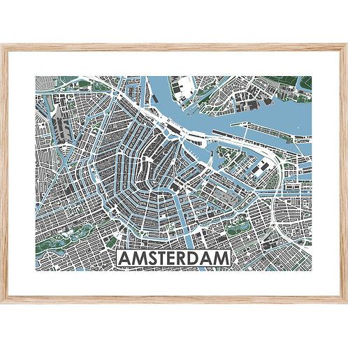 Amsterdam Centrum Stadskaart Poster MijnHONCK