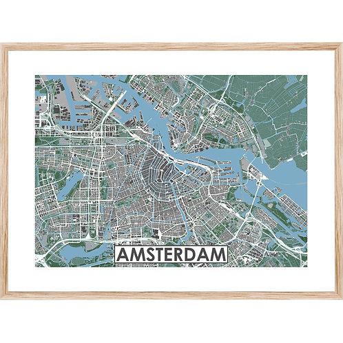 Amsterdam Stadskaart Poster MijnHONCK