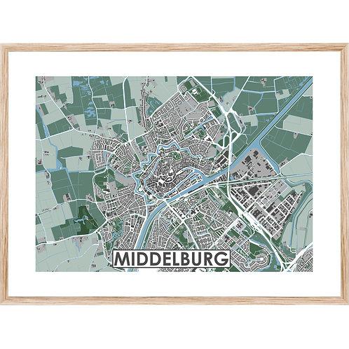 Middelburg Stadskaart Poster MijnHONCK