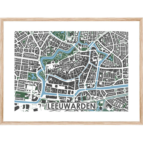 Leeuwarden Centrum Stadskaart Poster MijnHONCK
