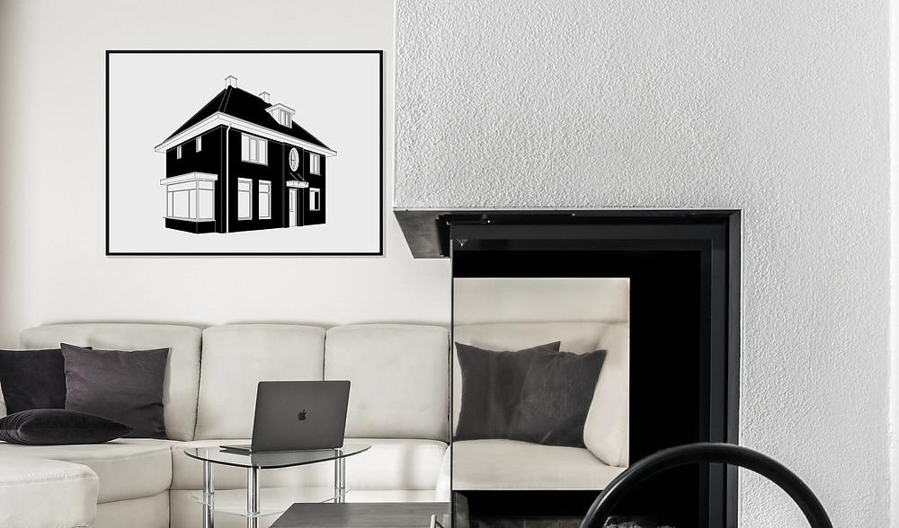 Gepersonaliseerde unieke moderne huisportretten van MijnHONCK