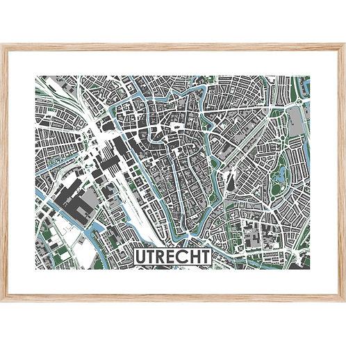 Utrecht Centrum Stadskaart Poster MijnHONCK