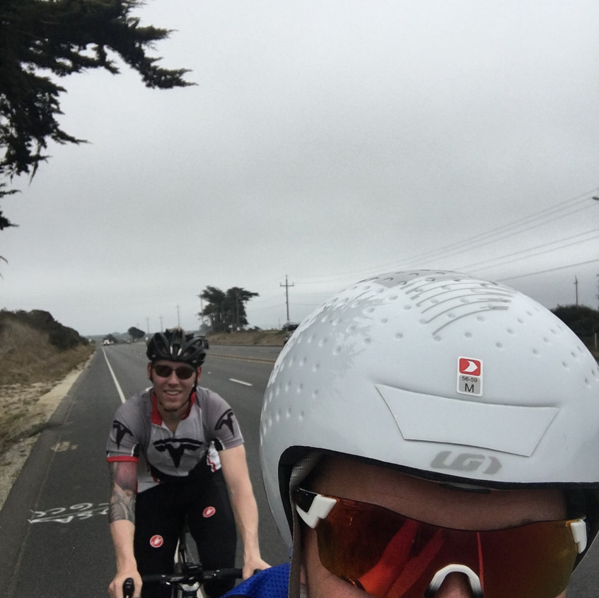 Wes and I riding on the bike course