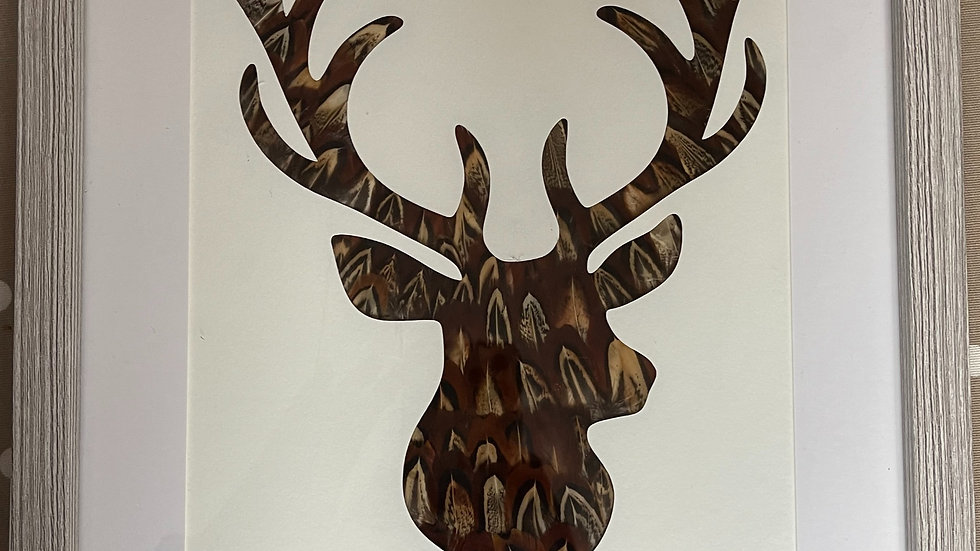 Stag Head Feather Silhouette