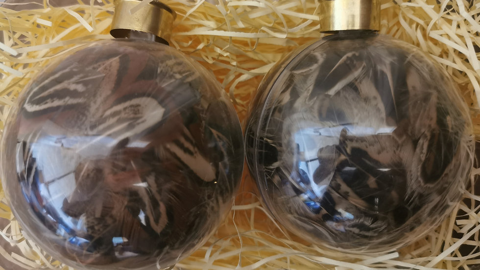 Glass Filled Pheasant Feather Baubles