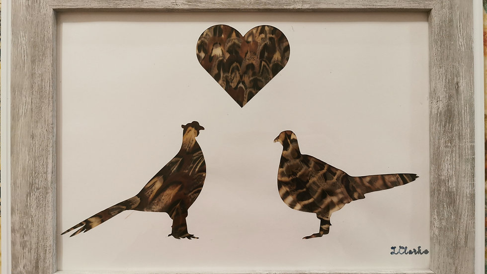 Love in the air Cock and Hen Pheasant Version