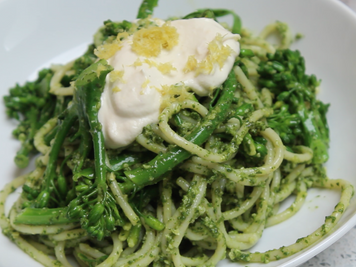Dairy Free Creamy Carrot Top Pesto Pasta with Blanched Broccolini