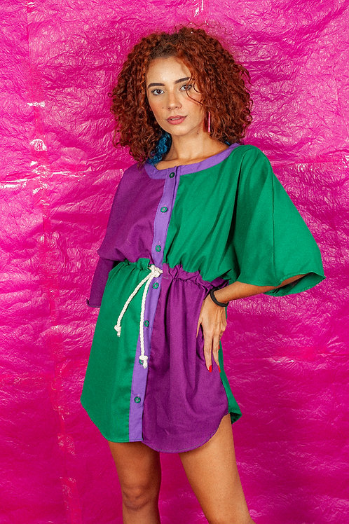 Vestido Fluído Kimono Linho Roxo