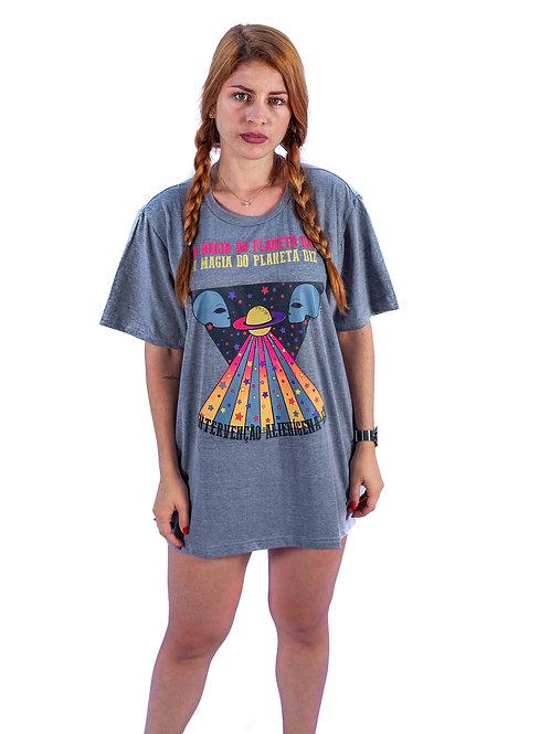Camiseta Algodão Intervenção Alienígena Mescla