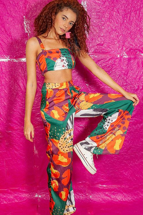 Calça Pantalona com Elástico Regalia Tropical
