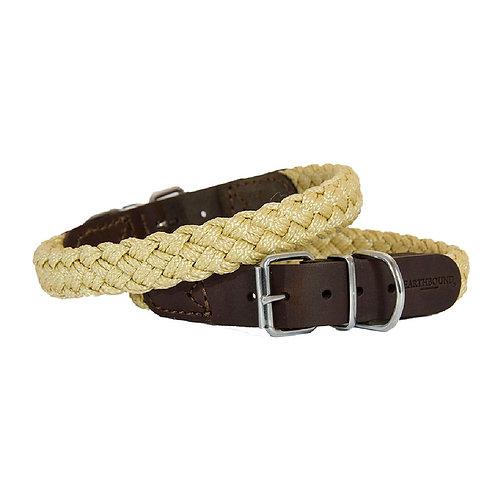 Brown Braided Nylon Leather Collar