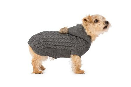 Grey Cable Knit Hoody for Dogs