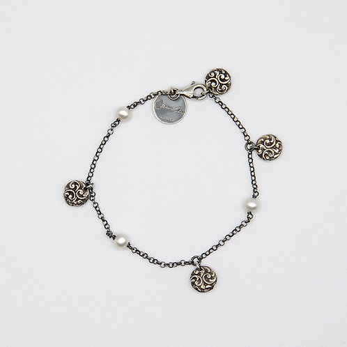 Hand Engraved Black Rhodium-Plated Silver Bracelet with Lentils and Pearls
