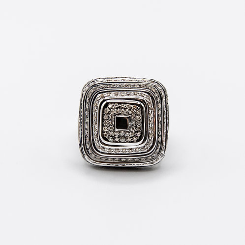 Robotti Square White Gold Ring with Brown Diamonds