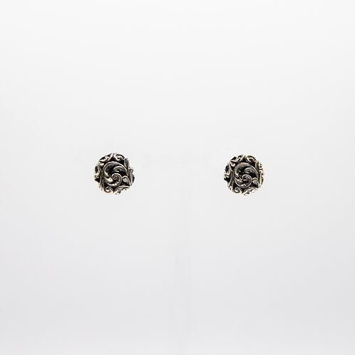 Hand Engraved Black Rhodium-Plated Silver Pad Earrings with Floral Motif