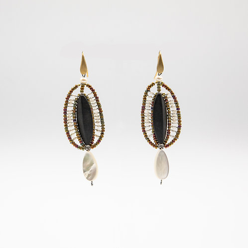 Ziio Matt Onyx Earrings with Mother of Pearl and Murano Glass