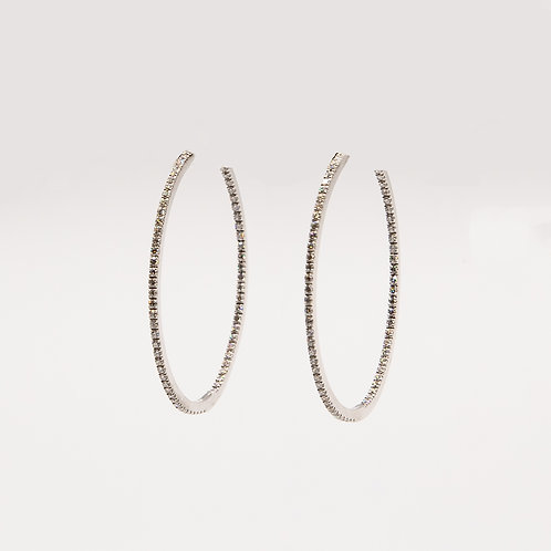 Diamond decorated White Gold Circle Earrings