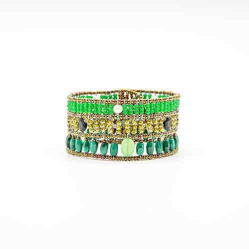 Ziio Malachite Bracelet with Murano Glass, Spinel, and Pearls