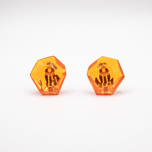 Monies Hailey Earrings in Transparent Orange Polyester