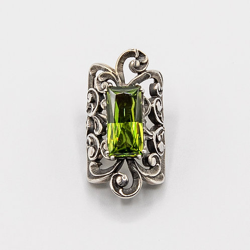 Black Rhodium-Plated Silver Ring with Emerald-Cut Peridot
