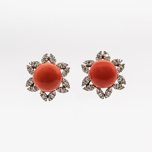 Earrings with 2 Buttons of Mediterranean Red Coral and Diamonds