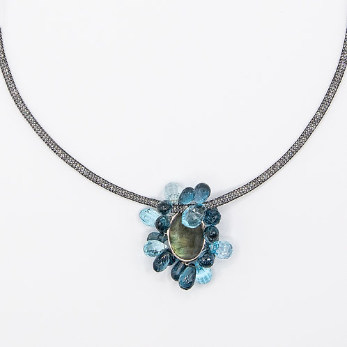 Luminous Choker with Labradorite  and London Blue Topaz