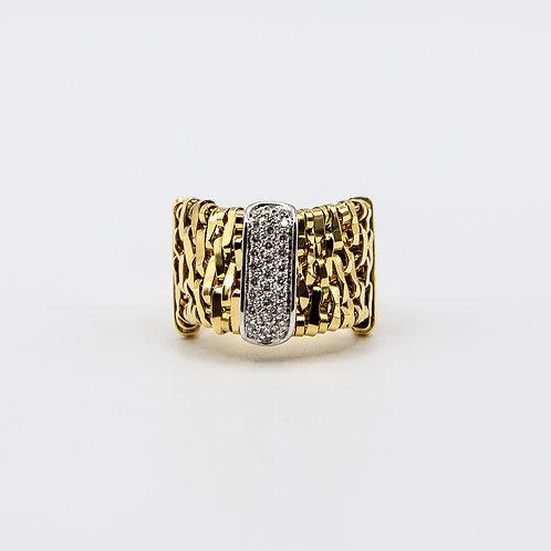 Orlando Orlandini Ring in 18k Yellow Gold with Diamonds
