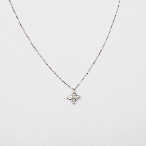 Cross Necklace with 4 Marquise-Cut Diamonds