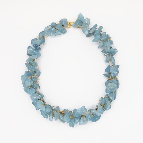 Aquamarine Necklace with 18k Yellow Gold Laminated 925 Silver