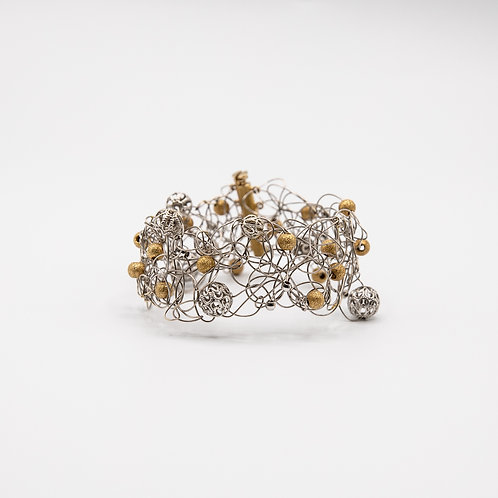 Silver Wire with Balls of Gold Glitters and Hand-Engraved Silver Balls