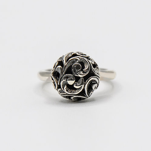 Hand Engraved Black Rhodium-Plated Silver Small Pad Ring