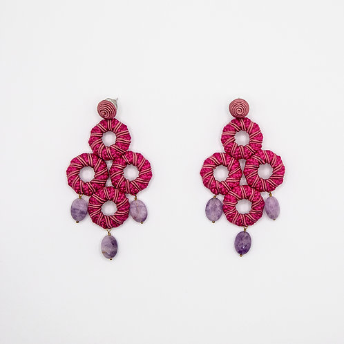 Pink Passementerie Earrings with Purple Natural Stones