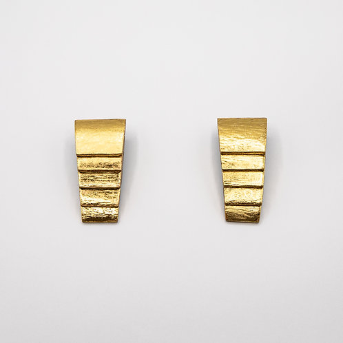 Monies Sassari Earrings in Acacia with Gold Foil and Clip Closure
