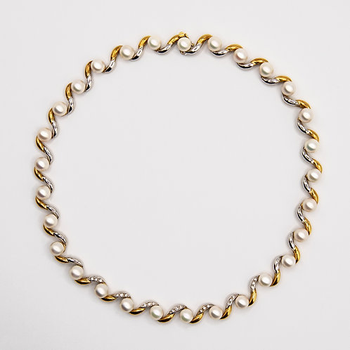 Raiteri Necklace in 18k Yellow and White Gold with Pearls and Diamonds