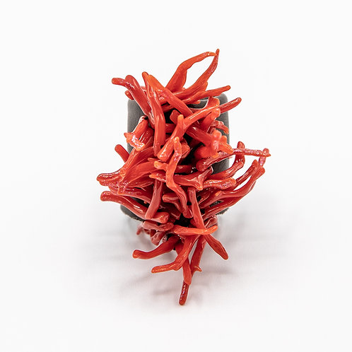 """GP """"Passion Explosion"""" Sicilian Ring made of Natural Corals and Genuine Leather"""