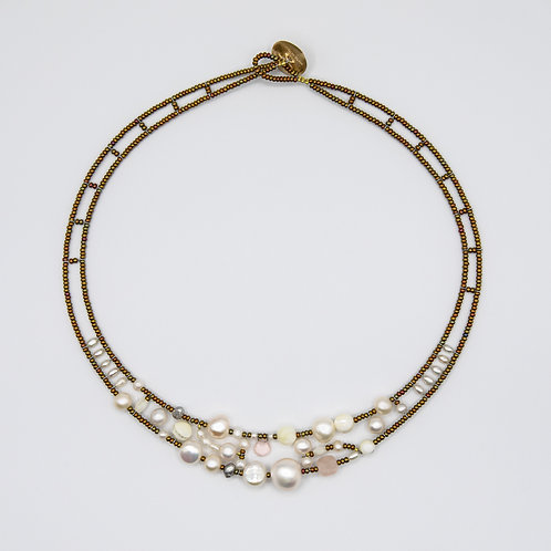 Ziio Silver Necklace with Natural Stones, Morganite, Quartz and Mother of Pearl