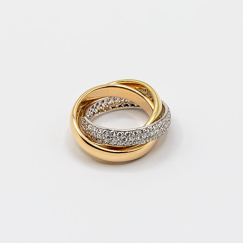 18k Yellow-Rose-White Gold Cartier Model Intertwined Ring with Pavé Diamonds