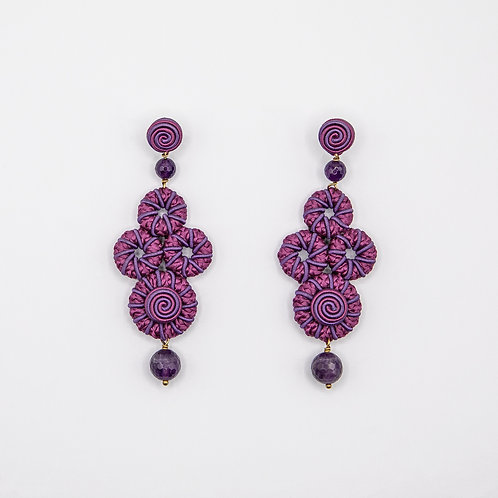 Purple Passementerie Earrings with Purple Natural Stones