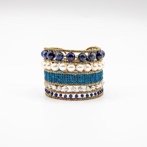 Ziio Lapislazuli Bracelet with Fresh Water Pearls