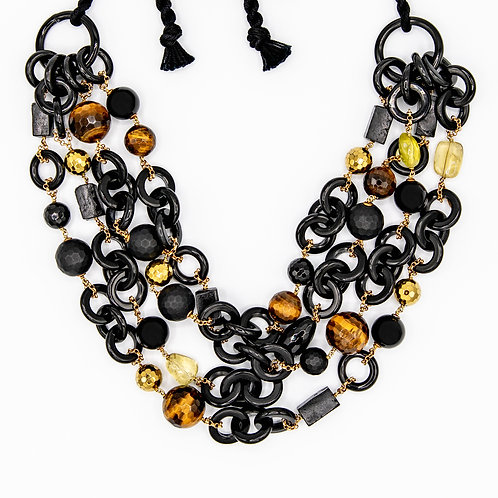 Amlé Layered Necklace made of Natural Horn, Quartz, Tiger's Eye, and Onyx