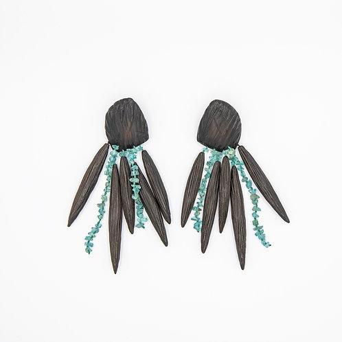 Monies Ebony Earrings with Acquamarine