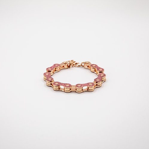 Altair Bracelet Classic Model in 18k Rose Gold with Pink Glitters