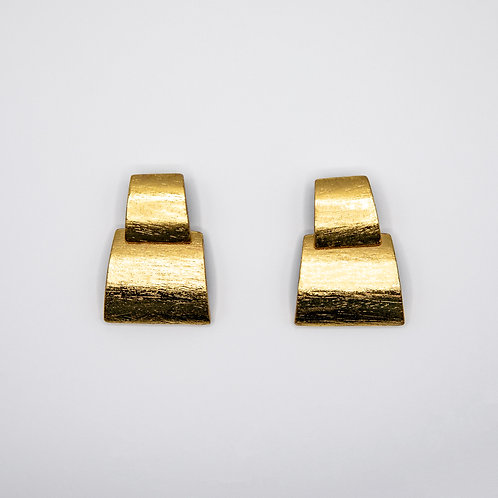 Monies Layered Trapezoid Earrings in Acacia with Gold Foil