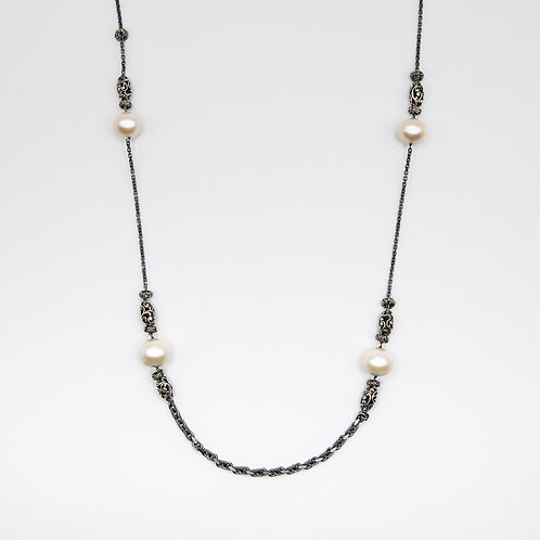 Hand Engraved Black Rhodium-Plated Silver Necklace with Pearls and Shiva Lingams