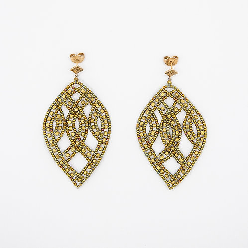 Ziio Leaf-Shaped Brass Earrings with Murano Glass and 925 Silver
